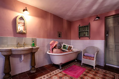 Caz 365 - Day #86 (cazphoto.co.uk) Tags: pink holiday selfportrait me hat bathroom reading book spain bath andalucia alpujarras washbasin laestrellita selfie365 canoneos5dmkiii canon1740mmeff4lusm 270314