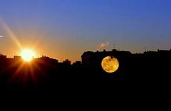 il sole e la luna (lory6093) Tags: tramonto alba case luna cielo poesia sole amore