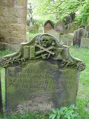 Glass bones (Nekoglyph) Tags: trees green graveyard stone skull book carved yorkshire text historic gravestone oldchurch crossbones holycross hourglass verse whorlton henrytod