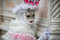 Venice Carnival (m-i-v) Tags: carnival pink venice portrait italy woman white face hat costume dress mask glove venezia