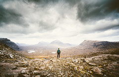 Beinn Eighe range (Steffen Walther) Tags: uk travel lake mountains clouds trekking walking landscape person scotland spring highlands rocks outdoor hiking valley lonely rough vastness munro canon1740l beinneighe westernross canon5dmarkiii steffenwalther