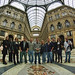 Staff and students pose in front of the Galleria Umberto I during a day of sightseeing in Naples