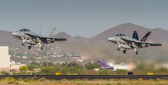 Dual Vampires (Chris Heising) Tags: arizona plane airplane fighter tucson aircraft aviation military flight navy jet hornet f18 vampires vx9 166673 166927