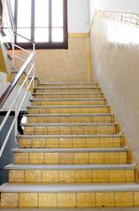 Hospital de la Santa Creu i Sant Pau (beckstei) Tags: barcelona street city urban abandoned yellow architecture facade spain stair decay interior architect gaudi utata edifice hospitaldelasantacreuisantpau