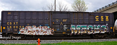 stoe LGF -  mecro  CDC (INTREPID IMAGES) Tags: street railroad abstract color art train bench graffiti fan paint grafiti steel painted sony graf tracks rail railway trains tags images railcar intrepid boxcar graff brew freight sexes cdc koin csx gr8 paintedtrains fr8 mecro railbox csxt lgf stoe benching railroadgraffiti paintedsteel railer 160696 intrepidimages