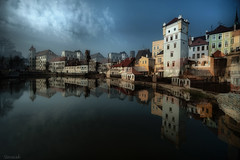 One beer too many in Jindrichuv Hradec (Stevacek) Tags: houses lake castle water clouds reflections still pond nikon czech calm multipleexposure dreamy hrad southbohemia jindrichuvhradec jindichvhradec jinechy stevacek d700 jiznicechy