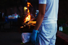 Sunday BBQ (Explored) (Linh H. Nguyen) Tags: newyork beautiful fire bokeh sony bbq meat grill flame barbecue moment coal rooseveltisland explored rokkor5014 nex7