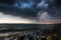 Belfast Lough (Mr Bultitude) Tags: county ireland sunset sea beach nature water rain clouds evening lough day sundown belfast northern antrim