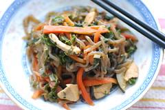 sort of japchae (elaynam) Tags: food chicken korean carrots zucchini scallions creamofthecrop csa chard japchae farmshare shirataki