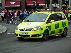 LAS 7341 (kenjonbro) Tags: uk england london westminster trafalgarsquare emergency charingcross vauxhall sw1 999 zafira londonambulanceservice 7341 kenjonbro lj56yut fujihs10 worldpride2012