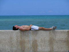 Relax. (JosephRPalmer Photography) Tags: sky chicago man green water wall concrete lakemichigan chicagoist