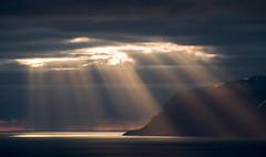 Westfjords Lightshow (Danil) Tags: ocean light sunset sun snow reflection ice water landscape iceland spring daniel reykjavik atlantic lightshow dreamscape landschap westfjords d300 lightbeam ijsland