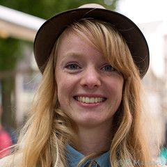 Jitske (100 strangers #11) (D_Snapper) Tags: street red portrait woman girl smile hat amsterdam lady canon hair square eos 50mm long 10 teeth 11 blond blonde freckles dame portret vrouw meisje lach straat glimlach hoed canonef50mmf14usm vierkant ef50mmf14usm eos5d curles sproeten 100strangers 5dmk3 5d3 100vreemden fma210712