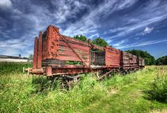 Prestongrange wagons (elementalPaul) Tags: blue red sky green scotland pentax tripod hdr wagons prestongrange prestonpans photomatixpro 5xp hdrsky k10d pentaxk10d trainwagons