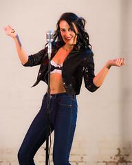 Samantha (Kotchka) Tags: blue red portrait black rock studio model shoes singing flash bra chick jeans jacket microphone tall chic brunette mic samantha sammii
