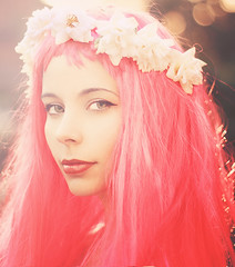 Wood's Witch (AnnuskA  - AnnA Theodora) Tags: pink flowers light red roses portrait sun hair eyes atmosphere lips wig mysterious lovely siren facepic beautyshoots
