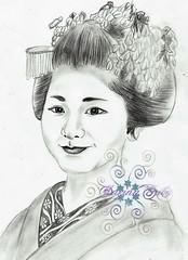 young lady (GionGeiko (Fujiko)) Tags: drawings maiko geiko geisha gion fujiko zeichnungen satsuki