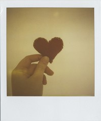 9th Anniversary (Lizzie Staley) Tags: red love film polaroid sx70 soft hand heart plush give take hold 779