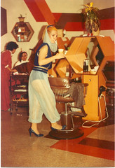 Smoking Genie, circa 1983 (STUDIOZ7) Tags: party woman girl costume cigarette kitsch smoking hairsalon idreamofjeannie smoker eighties 1980s genie stylist
