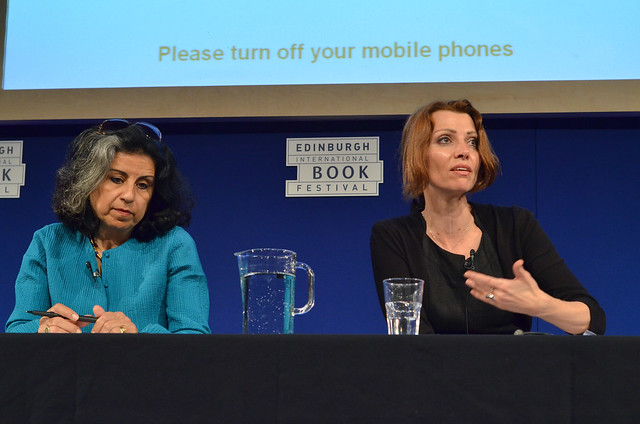Ahdaf Soueif and Elif Shafak at the Edinburgh World Writers' Conference c Pascal Saez