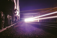 ... (//U\\) Tags: yards night train photography lights graffiti shadows tracks trains rails nights shooting boxcar freight boxcars hoppers freights oilers uteliebelly