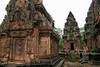 Banteay Srei - Mythical Guardians (Drriss & Marrionn) Tags: travel cambodia southeastasia shiva stonecarvings hindutemple banteaysrei archeologicalsite khmerart citadelofwomen