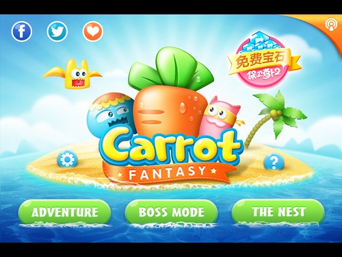 CarrotFantasy Main Menu: screenshots, UI