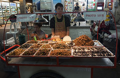 Thailand food cart (ORIONSM) Tags: food thailand spiders bangkok sony insects scorpions cart kohsanroad infinitexposure rx100mk3