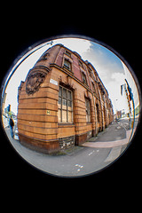 corner of whitworth street (PDKImages) Tags: old broken monochrome architecture manchester gate doors fisheye hidden forgotten bubble contrasts manchesterfirestation unlved