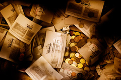 Treasure (OrangeK7) Tags: brown money paper coin treasure wealth oldtime smallerthanacoin