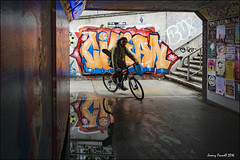 On the way to the Bearpit (zolaczakl ( 2 million views, thanks everyone)) Tags: bearpit stokescroft bristol graffiti streetart bicycle reflections puddle cyclist steps uk urban england southwest sigma1835mmf18dchsmlens photographybyjeremyfennell june 2016 nikond7100 cityscenes stjamesbartonroundabout