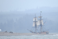Lady Washington in the Mist (shesnuckinfuts) Tags: boat ship sails replica tallship ladywashington oceanshoreswa damonpoint shesnuckinfuts june2016