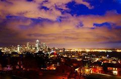 Seattle City Skyline at Dusk (TOTORORO.RORO) Tags: seattle city usa color skyline night lens landscape mirror washington view unitedstates queenanne sony hill wa translucent spaceneedle pugetsound kerrypark nightview alpha f28 hdr slt ssm seattlecenter a55 1650mm sal1650