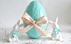 Bunnies are looking after the egg! (toriejayne) Tags: bunny easter gold aqua handmade chocolate egg spots ribbon decor picnik easterinspiration easterideas easterstyling