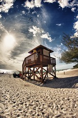 (Kenneth.Neighbors) Tags: tower beach photoshop canon florida lifeguard fisheye software nik hdr bradenton annamariaisland cs5 rokinon t2i