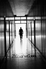 B+ (Zaina Al-Sanea) Tags: light blackandwhite bw man dark way long walk away lonely zaina alsanea thedarkway zainaalsanea