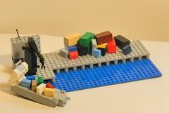 Cargo Wharf (king k rule) Tags: ocean sea building water colors harbor lego crane mini cargo wharf stuff boxes crates