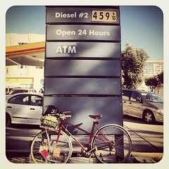 That ish is spensive #sf #soma #rideabike #gas (calitexican) Tags: sanfrancisco square basket gas squareformat joanie soma gasprices brooks b17s brookssaddle bikebasket earlybird iphoneography changeyourliferideabike instagramapp uploaded:by=instagram
