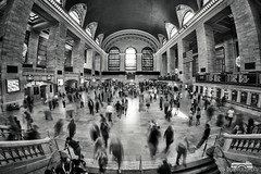 Grand Central rush hour (bgspix) Tags: nyc newyorkcity longexposure bw ny newyork station canon us interesting manhattan fisheye grandcentral 8mm samyang 60d benjamings bgsphotography bgspix