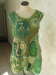 Green freeform tunic-dress-sweater -Almost finished! (atgaiva) Tags: green sweater dress handmade crochet free form freeform tunic