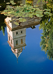 Lily pond (campra) Tags: blue sky reflection church water pond spain lily pad alhambra granada