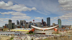 Beautiful City of Calgary (njchow82) Tags: calgary skyline architecture clouds landscape saddledome cityscape skyscrapers scenic hdr calgarytower stampedegrounds tonemapping photomatrix almostanything scenicsnotjustlandscapes bowtower nancychow canonpowershotsx30is