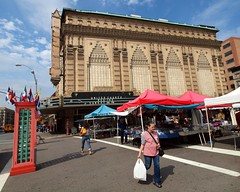 United Church, Plaza Americas, Washington Heights, New York City (jag9889) Tags: street city nyc people ny newyork tower church fruit shopping stand theatre farmers market manhattan united prayer broadway scene palace loews 2012 washingtonheights wahi plazaamericas jag9889 y2012