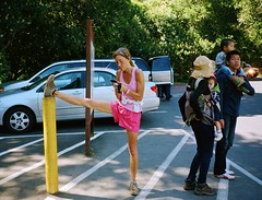 The flamingo (deepstoat) Tags: california street colour film 35mm muirwoods contaxt3 nonchalant akimbo flexible kodakportra 92degrees