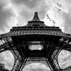 Eifel tower (apertu) Tags: travel blackandwhite bw black paris france architecture clouds frankreich europe ledefrance cloudy capital sightseeing sw eifelturm eifeltower tourdeeifel