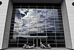 Skies and Reflections. and bikes. (CWhatPhotos) Tags: pictures park uk blue windows two portrait england sky reflection window bike canon honda silver reflections pose that lens photography eos big skies foto with spectrum image artistic zoom pics box top wheels north wing picture motorcycles bikes pic scooter images east business have wheeled photographs photograph fotos 600 7d motorcycle 1800 usm dslr which ef 1740mm f4 maxi contain bikers goldwing gl dawdon seaham tourer lseries silverwing gl1800 f4l 600cc topbox spectrumbusinesspark cwhatphotos