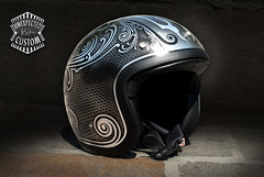 """Open face helmet """"Old School n1"""" (Unexpected Custom) Tags: original classic bike sport silver painting gold design leaf 60s open bass metallic flames helmet harley motorbike chrome moto motorcycle 70s customized biker custom davidson rider unexpected airbrush brushed ywnh"""