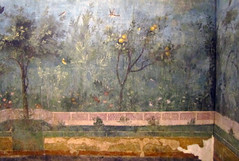 Painted Garden, Villa of Livia, detail with quince tree (profzucker) Tags: iris rome fern rose garden oak strawberry violet pomegranate ivy poppy villa myrtle livia cypress acanthus laurel chrysanthemum fresco oleander datepalm quince drusilla boxwood viburnum chamomile umbrellapine holmoak triclinium palazzomassimo primaporta redfir 20bcemuseonazionaleromano