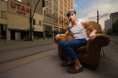 Sitting Giant of Fashion (tmbgodman) Tags: urban fashion giant dangerous chair handsome strong recliner predawn unexpected lazyboy surprising refined chiseled sinewy nikon140240mmf28