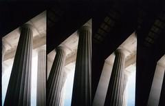 columns of Lincoln Memorial (SqueakyMarmot) Tags: travel usa america washingtondc lomo supersampler districtofcolumbia toycamera columns 35mmfilm scanned lincolnmemorial plasticcamera 4lens may2012